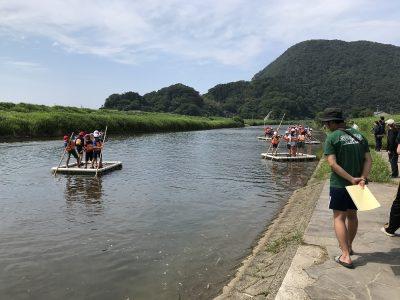 佐津川での筏下り